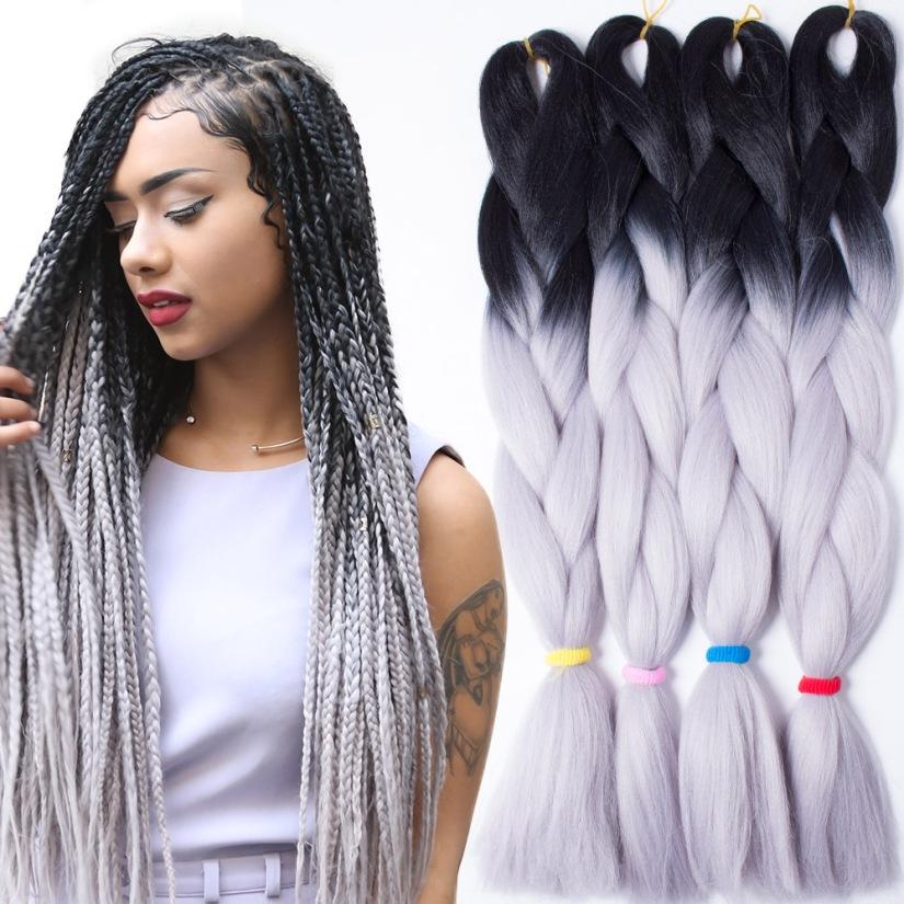100-g-5-pc-prata-fio-de-cabelo-crespo-cabelo-dois-tom-Ombre-Kanekalon-Jumbo-tranccedil