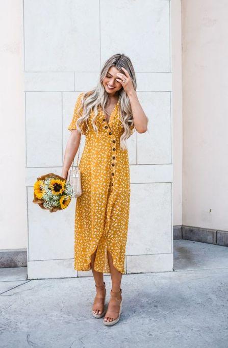 Vestido longo amarelo de Botões - Tendência para o Verão