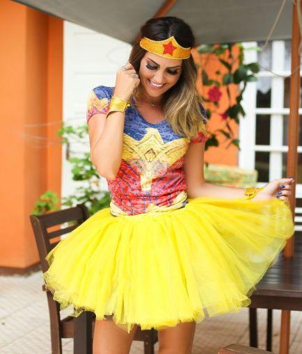Saia de Tule para Fantasia de Mulher Maravilha - Elis Cecilia Blog