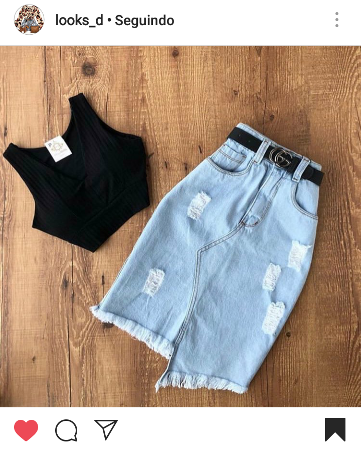 Saia Midi Jeans com Cropped Preto - Elis Cecilia Blog