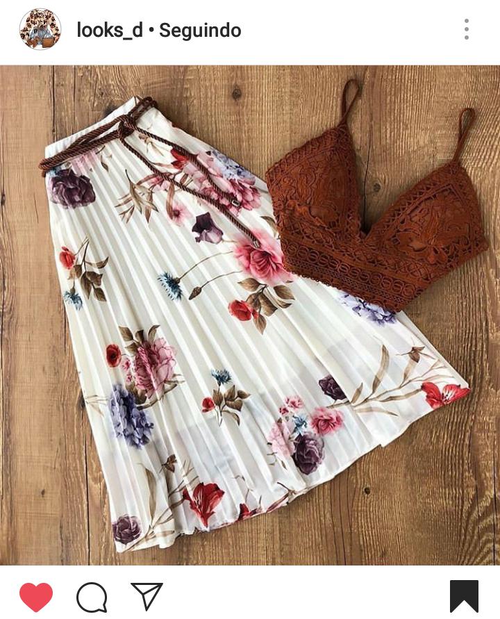 Saia Midi Floral com Cropped de Renda Marrom - Elis Cecilia Blog
