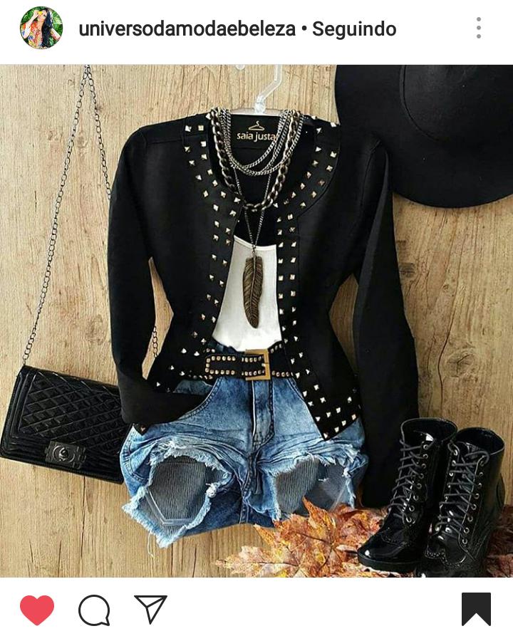 Jaqueta Preta com pedrarias, Short Jeans, Coturno preto e Bolsa Chanel - Elis Cecilia Blog