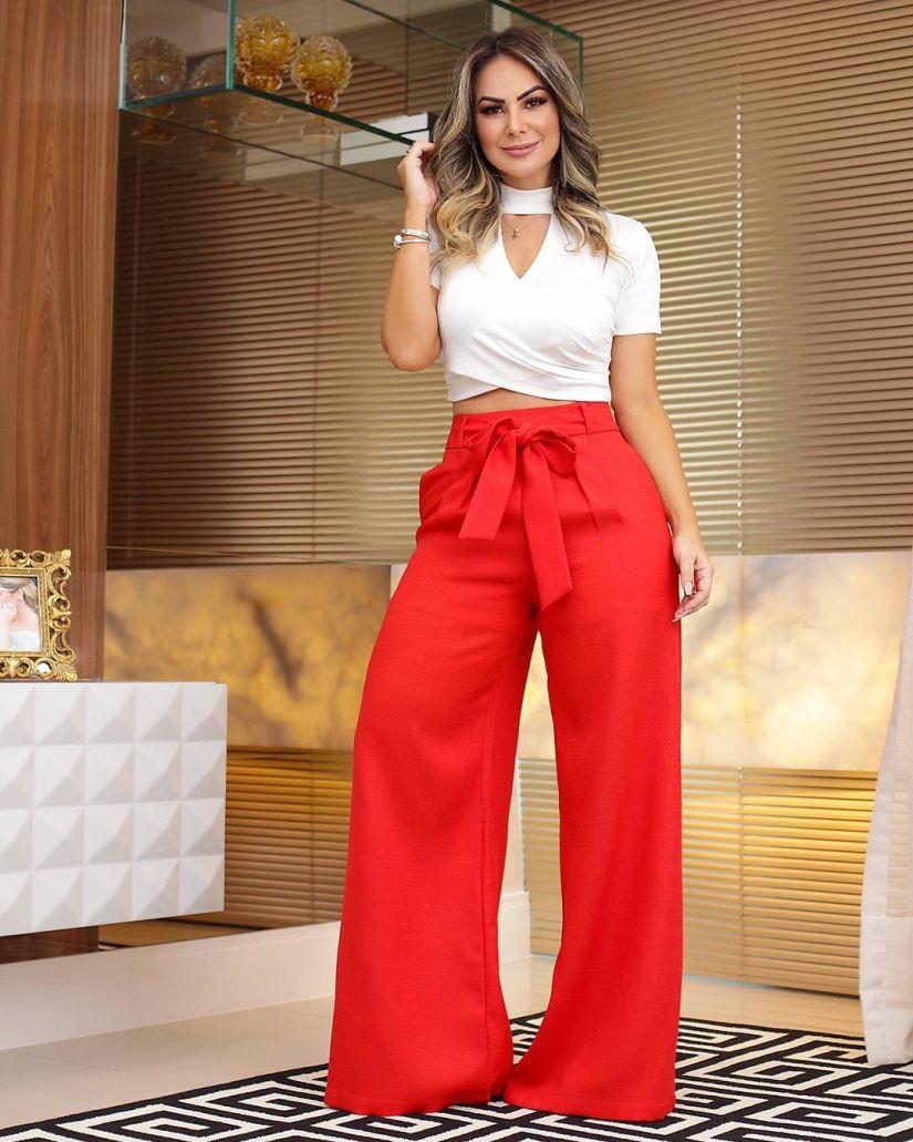 Pantalona Vermelha com Laço - Elis Cecilia Blog