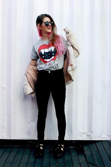 look camiseta calça cintura alta ziovara louloux sandália comprar casaco de pelo inverno 2