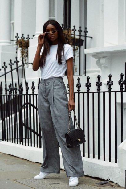 Look de Trabalho com Calça de Alfaitaria e T-shirt Branca - Elis Cecilia Blog