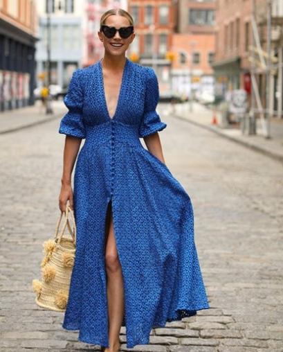 Vestido Classic Blue com manga bufante e decote V - Elis Cecilia Blog