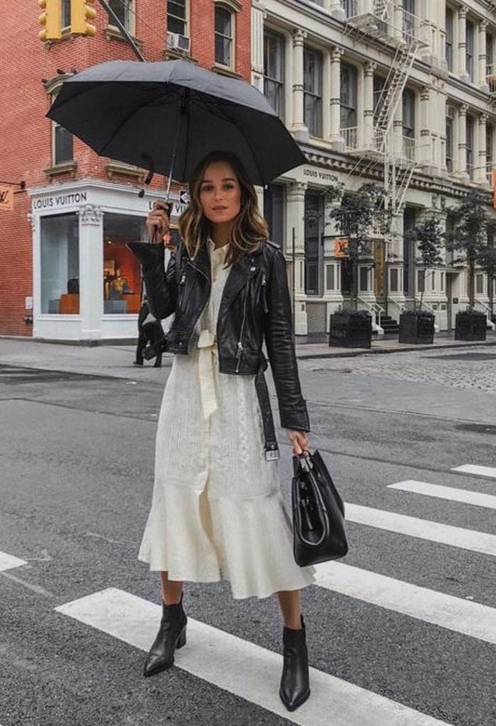 Use vestiod no inverno - vestido branco com jaqueta de couro e bota